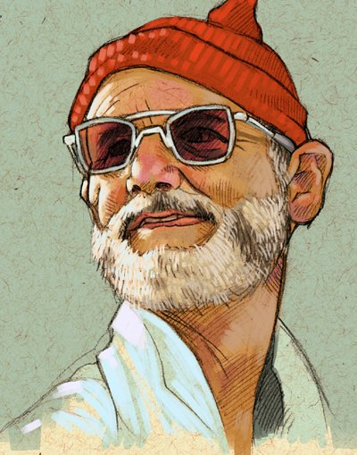 Illustration of Steve Zissou from The Life Aquatic with (2004)