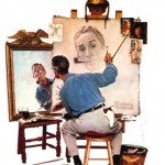 Norman-Rockwell-Triple-Self-Portrait-Poster-Card