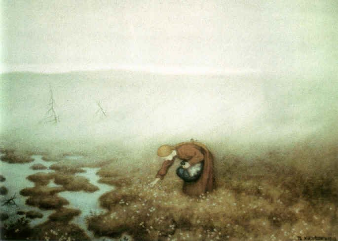 Theodor Kittelsen - The Princess Gathering Cotton Grass