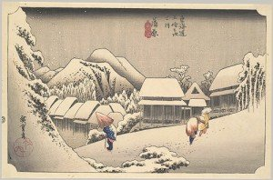 Evening Snow at Kanbara, Edo period (1615–1868), 1834